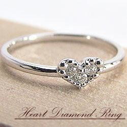 ピンキーリング 18金 ハートリング ダイヤモンドリング ホワイトゴールドK18 結婚記念日 指輪 文字入れ 刻印 可能 ギフト