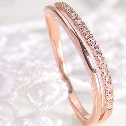 ピンキーリング 指輪 ダイヤモンドリング 18金 ウェーブデザイン 1号~ K18WG K18PG K18YG diamond ring 通販 アクセサリー ショップ ジュエリー プレゼント 刻印 文字入れ 可能 ギフト