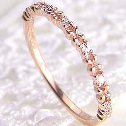 ダイヤモンドリング フラワーリング 花 指輪 K18 フラワーデザイン 18金 天然ダイヤモンド ピンキーリング ファランジリング ミディリング ギフト クリスマス プレゼント xmas