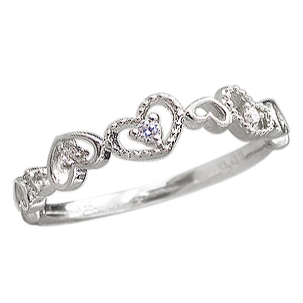 ハートリング プラチナ 指輪 ミル打ち ダイヤモンド ピンキーリング ファランジリング ミディリング Pt900 通販 ギフト