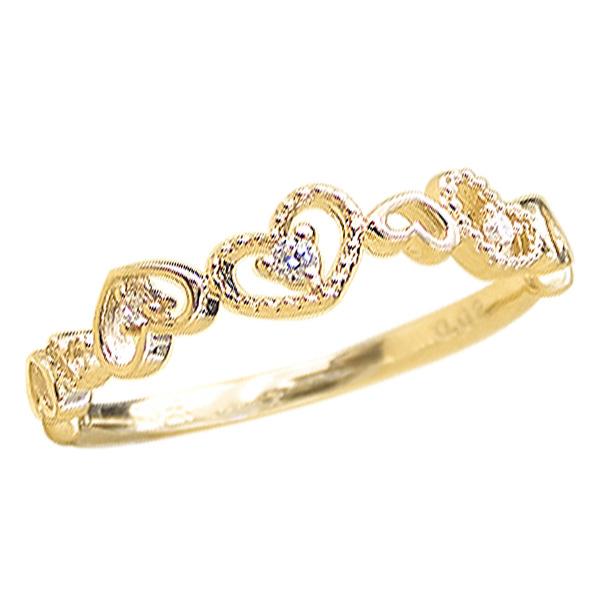 ハートリング ミル打ち ダイヤモンドリング ピンキーリング K18 指輪 ファランジリング ミディリング 通販 ギフト