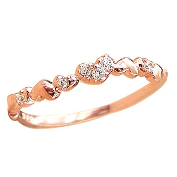 ハート ピンキーリング 18金 指輪 ダイヤモンドリング K18 ピンキーリング ファランジリング ミディリング 通販 ギフト