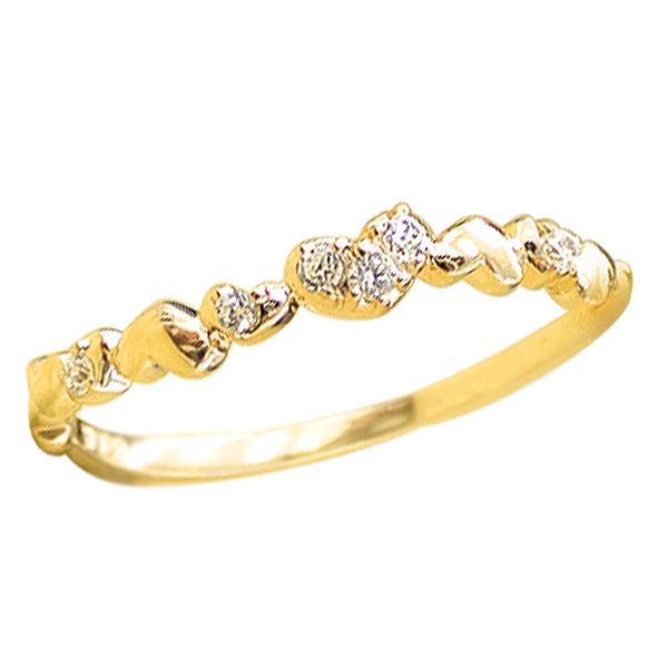 ハートリング ピンキーリング 10金 指輪 ダイヤモンド ピンキーリング ファランジリング ミディリング K10 diamond ring 通販 ギフト