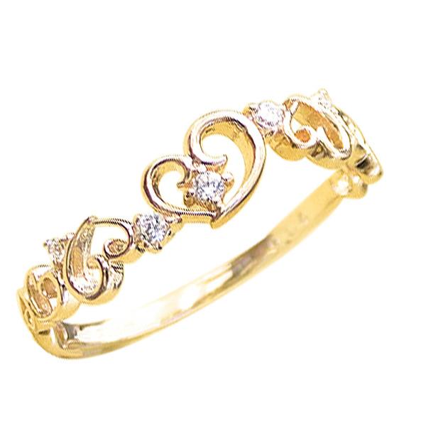 ハートリング ピンキーリング ダイヤモンドリング 18金 ハートモチーフ ピンキーリング ファランジリング ミディリング 指輪 ダイヤモンド K18 通販 ギフト