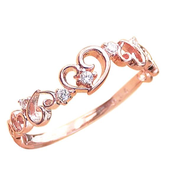 ハートリング ダイヤモンドリング ピンキーリング 10金 ハートモチーフ ファランジリング ミディリング 指輪 ダイヤモンド K10 通販 ギフト