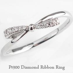 リボンリング プラチナ リボンピンキーリング ファランジリング ミディリング ダイヤモンド 指輪 Pt900 1号~15号 レディース りぼん ネットショップ 通販 ギフト rr
