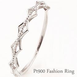 指輪 シンプルリング プラチナ 重ね着け ひし形 ミルウチ ピンキーリング ファランジリング ミディリング Pt900 ring ネットショップ 通販 ギフト OSSS