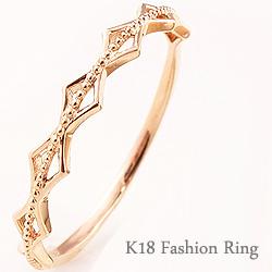 指輪 シンプルリング 重ね着け ひし形 ミルウチ ピンキーリング ファランジリング ミディリング 18金 K18 ring ネットショップ 通販 ギフト OSSS