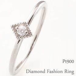 一粒 ダイヤモンドリング 指輪 ひし形 プラチナ 重ね着け ピンキーリング ファランジリング ミディリング Pt900 ring ネットショップ 通販 ギフト OSSS