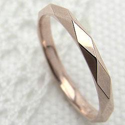 ピンクゴールドK10 シンプルリング K10PG 指輪 ひし形 ピンキーリング 記念日 ジュエリーショップ ギフト