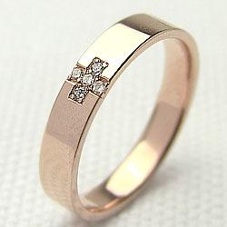 ダイヤモンドクロスリング ピンクゴールドK18 十字架 K18PG 指輪diaring ギフト