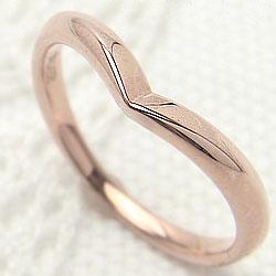 ピンクゴールドK18 シンプルリング 18金 指輪 Vライン ピンキーリング 記念日 プレゼントに ギフト
