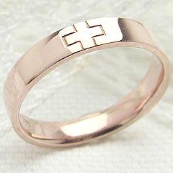 クロスリング ピンクゴールドK10 十字架 K10PG 指輪 文字入れ 可能 レディース ring ギフト クリスマス プレゼント xmas