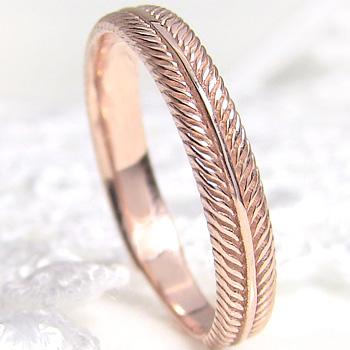 指輪 フェザーリング 羽デザイン 18金 K18WG K18PG K18YG 女性用 誕生日プレゼント レディースリング ピンキーリング 通販ショップ ギフト