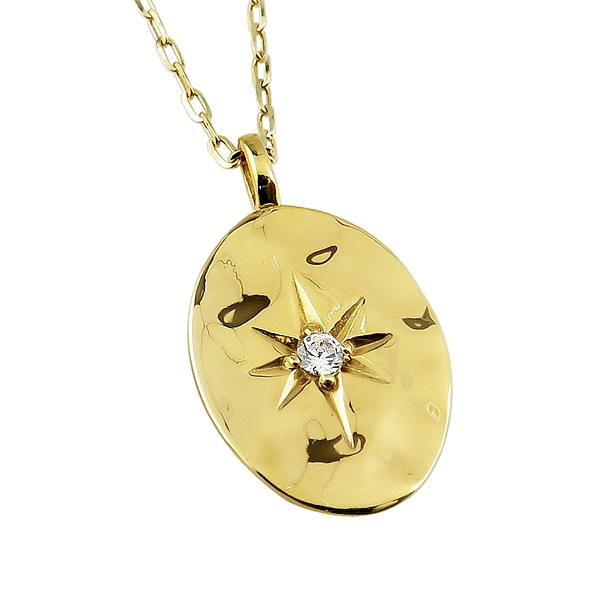メンズネックレス 10金 K10 ゴールド 1石 ダイヤモンド オーバル形 小判形 モチーフ ペンダント アズキチェーン 50cm 1mm幅 地金 シンプル 男性用