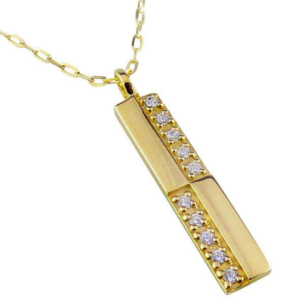 メンズネックレス 10金 K10 10石 ダイヤモンド クロス 十字架 ペンダント アズキチェーン 50cm 1mm幅 地金 シンプル 男性用 バレンタインデー