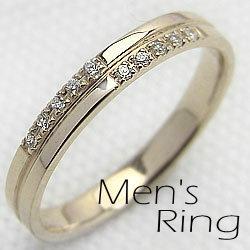 メンズダイヤモンドクロスリング イエローゴールドK10 指輪 K10YG ジュエリーアイring ギフト 新生活 在宅 ファッション