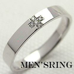 ダイヤモンドメンズリング 十字架デザイン ホワイトゴールドK10 指輪K10WG オシャレ メンズアクセサリー 誕生日プレゼント サプライズ ギフト