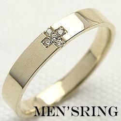 メンズダイヤクロスリング イエローゴールドK10 K10YG 天然ダイヤモンド men'sアクセサリー オシャレ指輪 ギフト