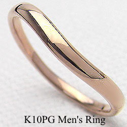 シンプルメンズリング ピンクゴールドK10 K10PG オシャレアイテム 誕生日 記念日 指輪 贈り物 ジュエリーアイ ギフト