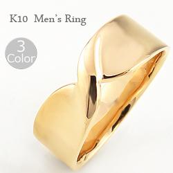 10金 メンズリング 指輪 リボン 無限マーク ∞ 幅広 太い ホワイト ピンク イエローゴールド シンプル 大人 アクセ ギフト クリスマス プレゼント xmas