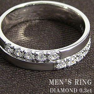 クロスメンズリング 天然ダイヤモンド ホワイトゴールドK10 K10WG アクセサリーショップ 十字架 記念日 贈り物 指輪 ジュエリー ギフト