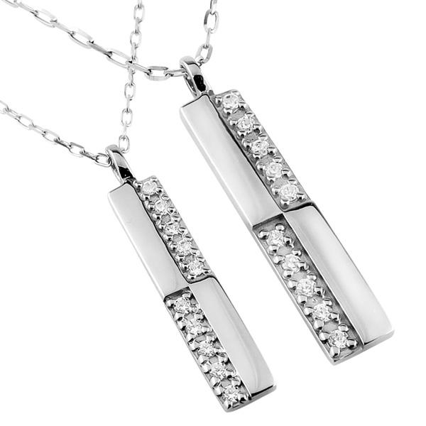 ペアネックレス シンプル プラチナ クロス ダイヤモンド 10石 十字架 ペンダント 2本セット ネックレス チェーン ペア Pt900 Pt850 婚約 結婚式 ホワイトデー プレゼント カップル ギフト