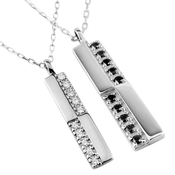 ペアネックレス シンプル プラチナ クロス ダイヤモンド ブラックダイヤモンド 10石 十字架 ペンダント 2本セット ネックレス チェーン ペア Pt900 Pt850 クリスマス プレゼント xmas カップル ギフト