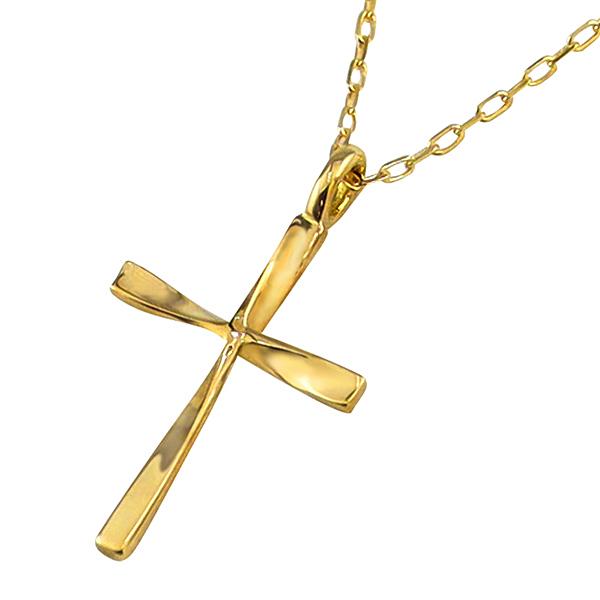 クロス ネックレス レディース 18金 K18 十字架 ひねり ペンダント アズキチェーン 40cm 首飾り クリスマス プレゼント