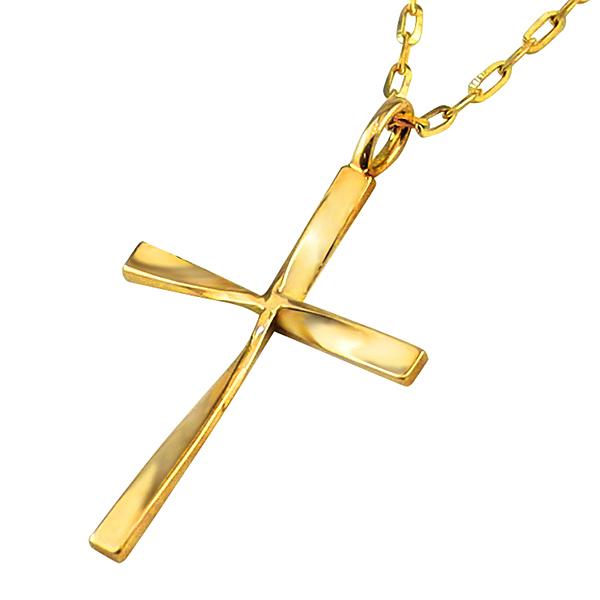 メンズネックレス クロス 18金 K18 ゴールド 十字架 ひねり ペンダント シンプル チェーン アズキチェーン 50cm 1mm幅 地金 シンプル 男性用