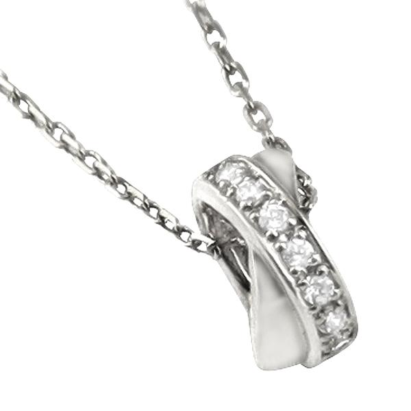 ネックレス レディース サークル プラチナ Pt900 Pt850 クロス ダイヤモンド ペンダント アズキチェーン 40cm 首飾り ホワイトデー プレゼント