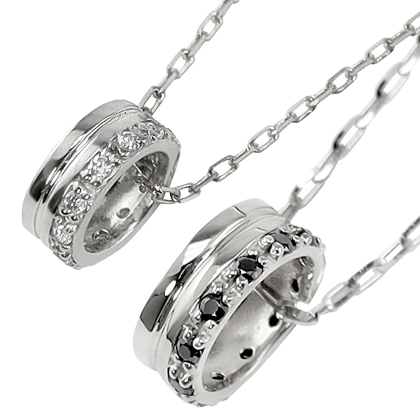 ペアネックレス シンプル プラチナ 天然 ダイヤモンド ブラックダイヤモンド 12石 サークル 丸 ペンダント 2本セット ネックレス チェーン ペア Pt900 Pt850 婚約 結婚式 カップル ペアルック 新生活 在宅 ファッション 自粛