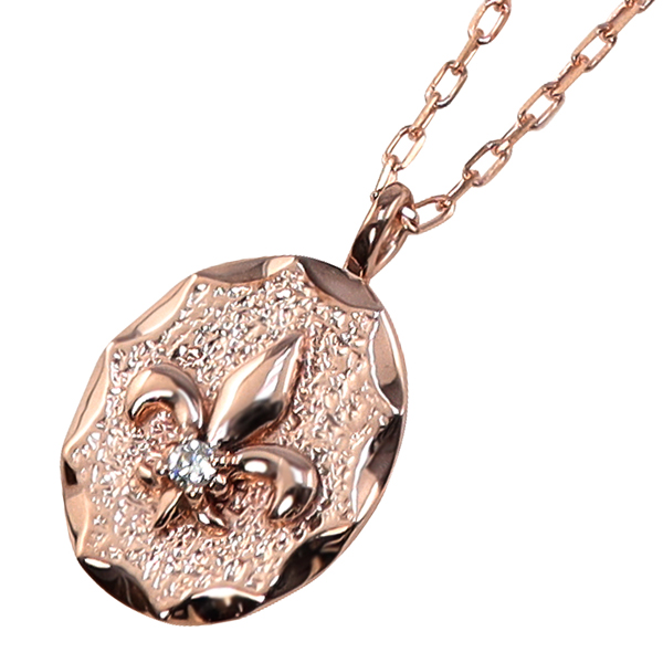 ネックレス レディース ネックレス ユリの紋章 フルールドリス 一粒ダイヤモンド 10金 K10 ゴールド ペンダント アズキチェーン 40cm シンプル 文字入れ 刻印 可能 首飾り ホワイトデー プレゼント クリスマス プレゼント xmas