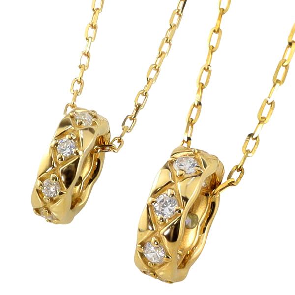 ネックレス チェーン キルティング サークル ペアルック カップル ペア K18 18金 商店 送料無料 ペンダント シンプル 結婚式 ホワイトデー 婚約 ゴールド ペアネックレス 日本製 プレゼント ダイヤモンド 2本セット
