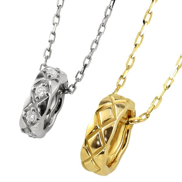 ペアネックレス シンプル ゴールド キルティングサークル ペンダント ダイヤモンド 2本セット ネックレス K18 18金 チェーン ペア 婚約 結婚式 カップル ペアルック 新生活 在宅 ファッション