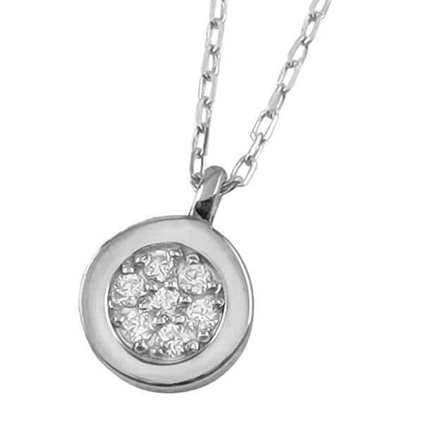 ネックレス レディース サークル ネックレス ダイヤモンド プラチナ Pt900 Pt850 7石 ペンダント アズキチェーン 40cm 天然ダイヤ 首飾り 新生活 在宅 ファッション