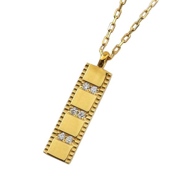 ネックレス レディース プレート ネックレス ダイヤモンド 10金 6石 ペンダント アズキチェーン 40cm 天然ダイヤ 首飾り 新生活 在宅 ファッション