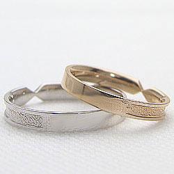 結婚指輪 ゴールド デザインリング ペアリング イエローゴールドK18 ホワイトゴールドK18 マリッジリング 18金 2本セット ペア 文字入れ 刻印 可能 婚約 結婚式 ブライダル ウエディング ギフト 新生活 在宅 ファッションJTlcFK1