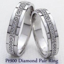 結婚指輪 プラチナ バンド デザイン ダイヤモンド ペアリング マリッジリング Pt900 2本セット ペア 文字入れ 刻印 可能 婚約 結婚式 クリスマス プレゼント xmas