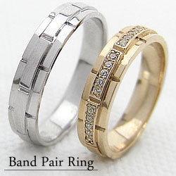 結婚指輪 ゴールド バンドデザイン ダイヤモンド ペアリング イエローゴールドK18 ホワイトゴールドK18 ベルト マリッジリング 18金 2本セット ペア 文字入れ 刻印 可能 婚約 結婚式 ブライダル ウエディング ギフト バレンタインデー ホワイトデー