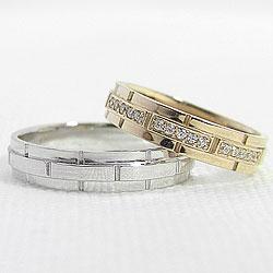 結婚指輪 ゴールド バンドデザイン ダイヤモンド ペアリング イエローゴールドK18 ホワイトゴールドK18 ベルト マリッジリング 18金 2本セット ペア 文字入れ 刻印 可能 婚約 結婚式 ブライダル ウエディング ギフト 新生活 在宅 ファッションBdCxeo