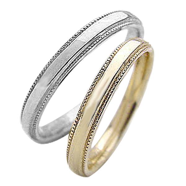 結婚指輪 ゴールド ミル打ち ストレート ペアリング イエローゴールドK10 ホワイトゴールドK10 マリッジリング 10金 2本セット ペア 文字入れ 刻印 可能 婚約 結婚式 ブライダル ウエディング ギフト 新生活 在宅 ファッション