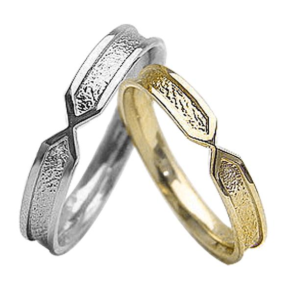 結婚指輪 ゴールド デザインリング ペアリング イエローゴールドK18 ホワイトゴールドK18 マリッジリング 18金 2本セット ペア 文字入れ 刻印 可能 婚約 結婚式 ブライダル ウエディング ギフト 新生活 在宅 ファッション