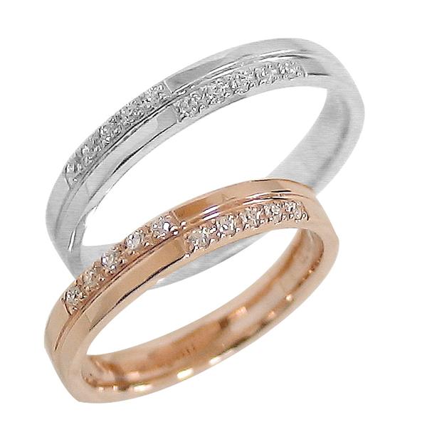 結婚指輪 ゴールド クロス ペアリング ダイヤモンド ピンクゴールドK18 ホワイトゴールドK18 マリッジリング 十字架 18金 2本セット ペア 文字入れ 刻印 可能 婚約 結婚式 ブライダル ウエディング ギフト 新生活 在宅 ファッション