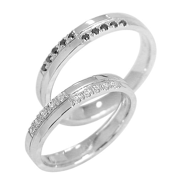 結婚指輪 プラチナ クロス ペアリング ダイヤモンド ブラックダイヤモンド Pt900 マリッジリング 十字架  2本セット ペア 文字入れ 刻印 可能 婚約 結婚式 ブライダル ウエディング ホワイトデー プレゼント