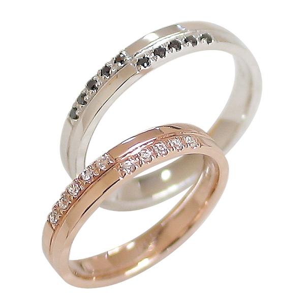 結婚指輪 ゴールド クロス ペアリング ダイヤモンド ブラックダイヤモンド ピンクゴールドK10 ホワイトゴールドK10 マリッジリング 十字架 10金 2本セット ペア 文字入れ 刻印 可能 婚約 結婚式 ブライダル ウエディング ギフト 新生活 在宅 ファッション
