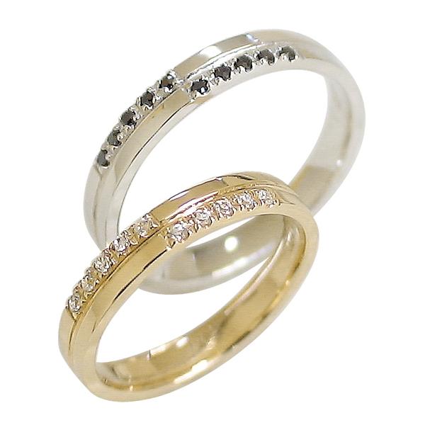 結婚指輪 ゴールド クロス ペアリング ダイヤモンド ブラックダイヤモンド イエローゴールドK18 ホワイトゴールドK18 マリッジリング 十字架 18金 2本セット ペア 文字入れ 刻印 可能 結婚式 ブライダル ウエディング クリスマス プレゼント ギフト:ジュエリーアイ