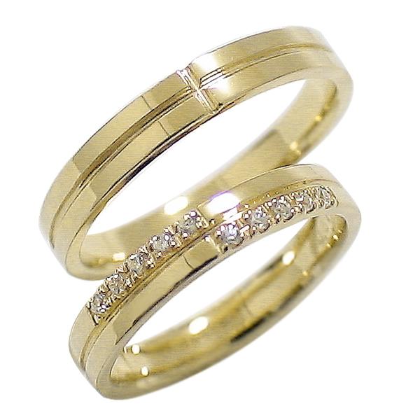 結婚指輪 ゴールド クロス ペアリング ダイヤモンド イエローゴールドK10 マリッジリング 十字架 10金 2本セット ペア 文字入れ 刻印 可能 婚約 結婚式 ブライダル ウエディング ギフト 新生活 在宅 ファッション