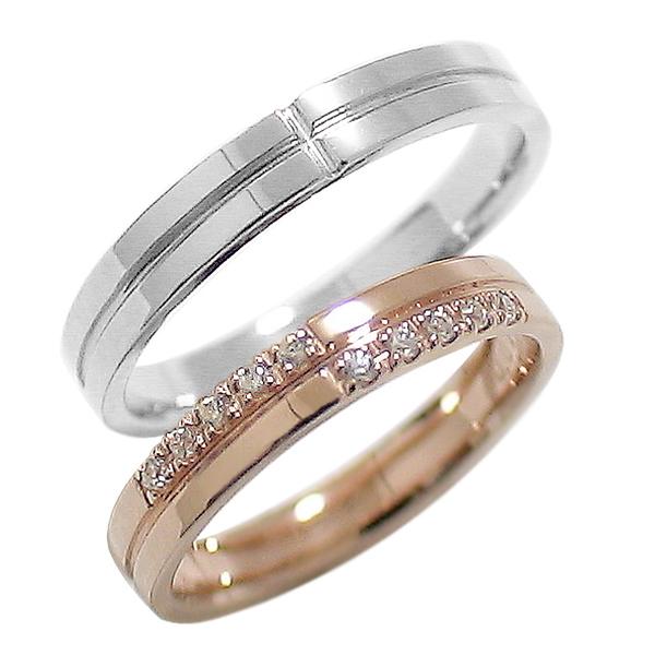 結婚指輪 ゴールド クロス ペアリング ダイヤモンド ピンクゴールドK10 ホワイトゴールドK10 マリッジリング 十字架 10金 2本セット ペア 文字入れ 刻印 可能 婚約 結婚式 ブライダル ウエディング ギフト 新生活 在宅 ファッション