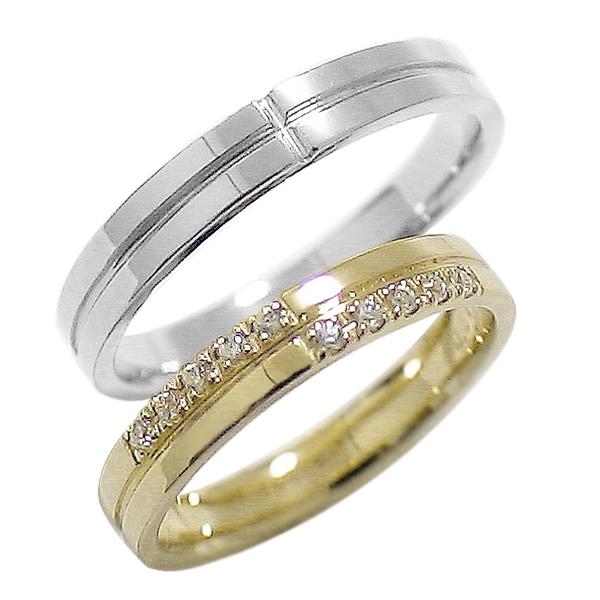 結婚指輪 ゴールド クロス ペアリング ダイヤモンド イエローゴールドK10 ホワイトゴールドK10 マリッジリング 十字架 10金 2本セット ペア 文字入れ 刻印 可能 婚約 結婚式 ブライダル ウエディング ギフト 新生活 在宅 ファッション